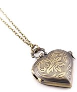 Heart Pocket Watch Necklace Z10 Antique Gold To... - $29.58