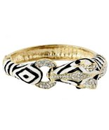 Zebra Hinged Bracelet G9 Cuff Bangle Clear Crys... - $29.58