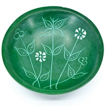 Tabaka Chigware Handmade Kisii Soapstone Green Spring Flower Trinket Bowl Kenya image 2