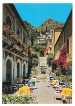 Italy Sicily Taormina Beautiful Street View Tea Room Cafe 4X6 Postcard - $8.99