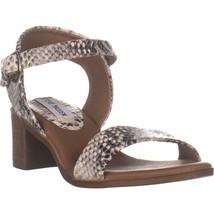 Steve Madden April Block Heel Ankle Strap Sandals, Natural Snake, 6 US - $32.63