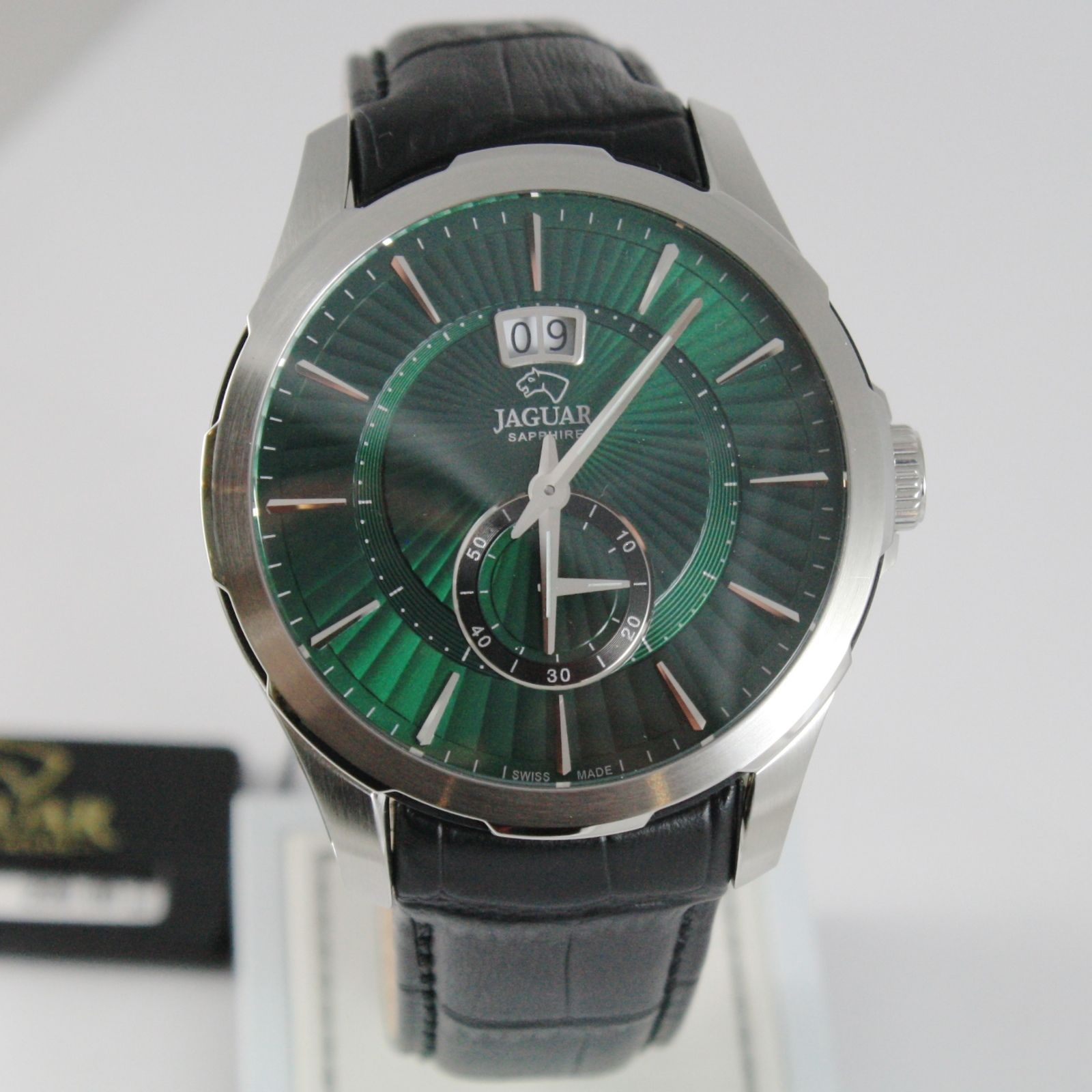 JAGUAR WATCH, SWISS MADE, SAPPHIRE CRYSTAL, GREEN, 44 MM CASE BLACK LEATHER BAND