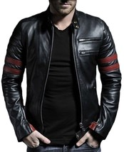 Make To Order handmade Men's Black Color With Red Strips Biker Leather J... - $149.99+