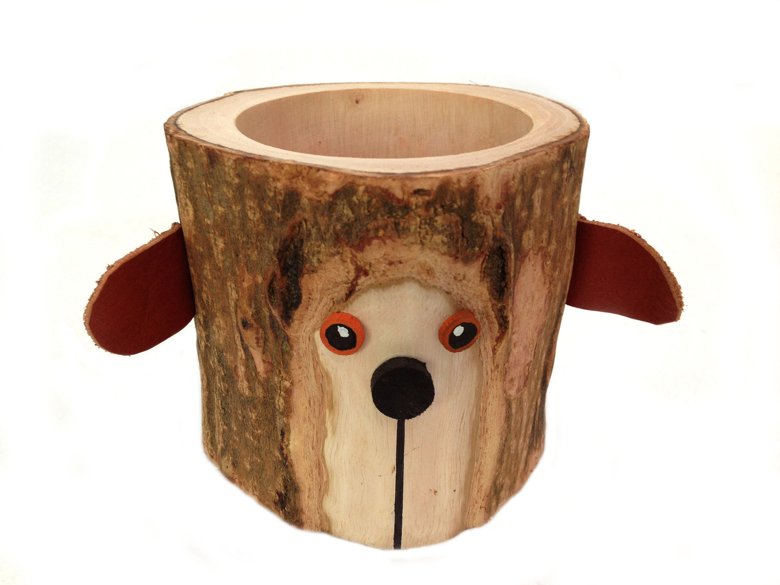Rustic Pencil Holder Bear Pen Holder Desktop Organizer Tree Bark Wood Pencil Cup