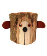 Rustic Pencil Holder Bear Pen Holder Desktop Organizer Tree Bark Wood Pe... - £12.77 GBP