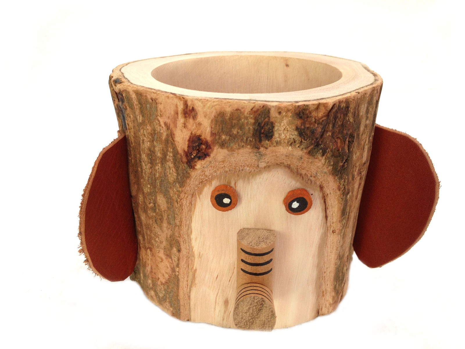 Rustic Pencil Holder Elephant Pen Holder Desktop Organizer Bark Wood Pencil Cup