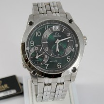 JAGUAR WATCH SWISS MADE SAPPHIRE CRYSTAL DOUBLE TIME ZONES DATE 48 MM CASE GREEN