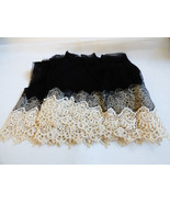 "Antique handmade Black net lace Ecru Embroidery 9"" w Scalloped Filet 4.3... - $84.15"