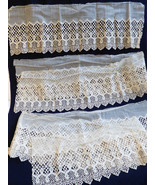 """Antique handmade net lace Ecru Embroidery 8.5"""" Scalloped Filet 1.11 yd 3... - $94.05"""