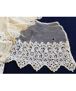 """Antique Victorian handmade net lace Ecru Embroidery 6"""" Scalloped Filet 2... - $118.80"""