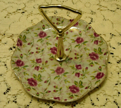 Vintage LEFTON CHINA Hand Painted Roses TIDBIT TRAY With Handle // COTTA... - $11.02