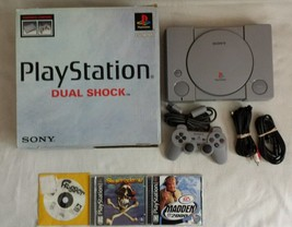 ☆ Sony Playstation 1 Dual Shock Console Bundle Complete in Box & 3 PS1 G... - $75.00