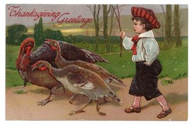 Edwardian Boy Herding Turkeys Vintage Thanksgiving Postcard PFB 1908 Emb... - $4.99