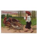 Edwardian Boy Herding Turkeys Vintage Thanksgiving Postcard PFB 1908 Emb... - $4.99