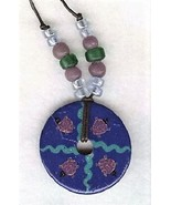 Blue Turtle Disc Bead Necklace  - $3.30