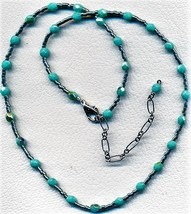 Sea Green Glass Bead Necklace - $3.30