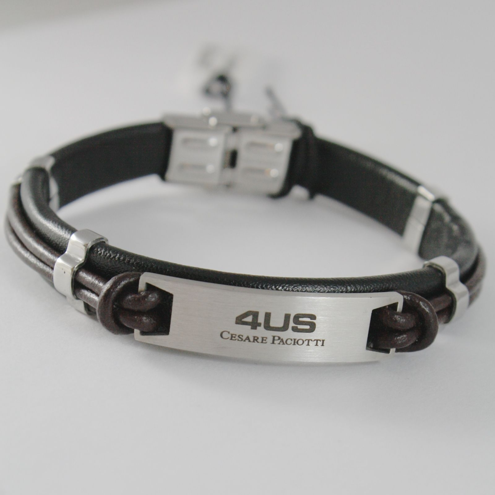 STAINLESS STEEL PLATE BRACELET WITH BROWN BLACK LEATHER, 4US BY CESARE PACIOTTI