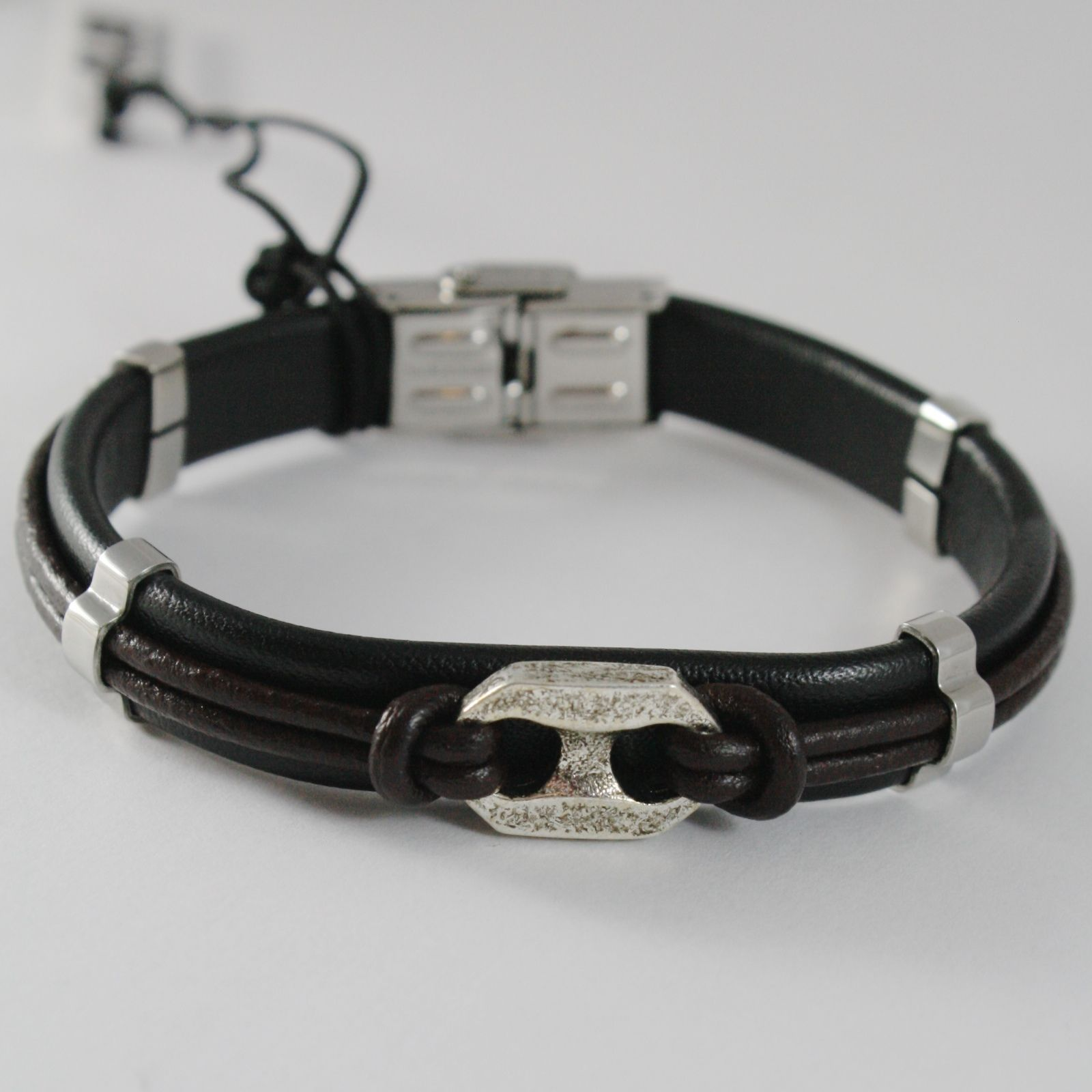 STAINLESS STEEL BOLT BRACELET WITH BROWN BLACK LEATHER, 4US BY CESARE PACIOTTI