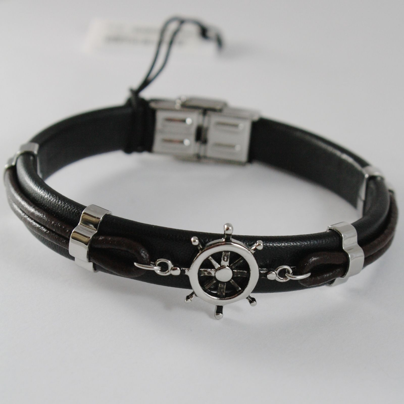 STAINLESS STEEL BOAT RUDDER HELM BRACELET WITH LEATHER, 4US BY CESARE PACIOTTI