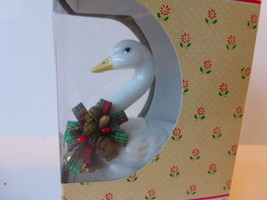 Vintage Russ Porcelain Holly Goose Ornament Taiwan - $12.83