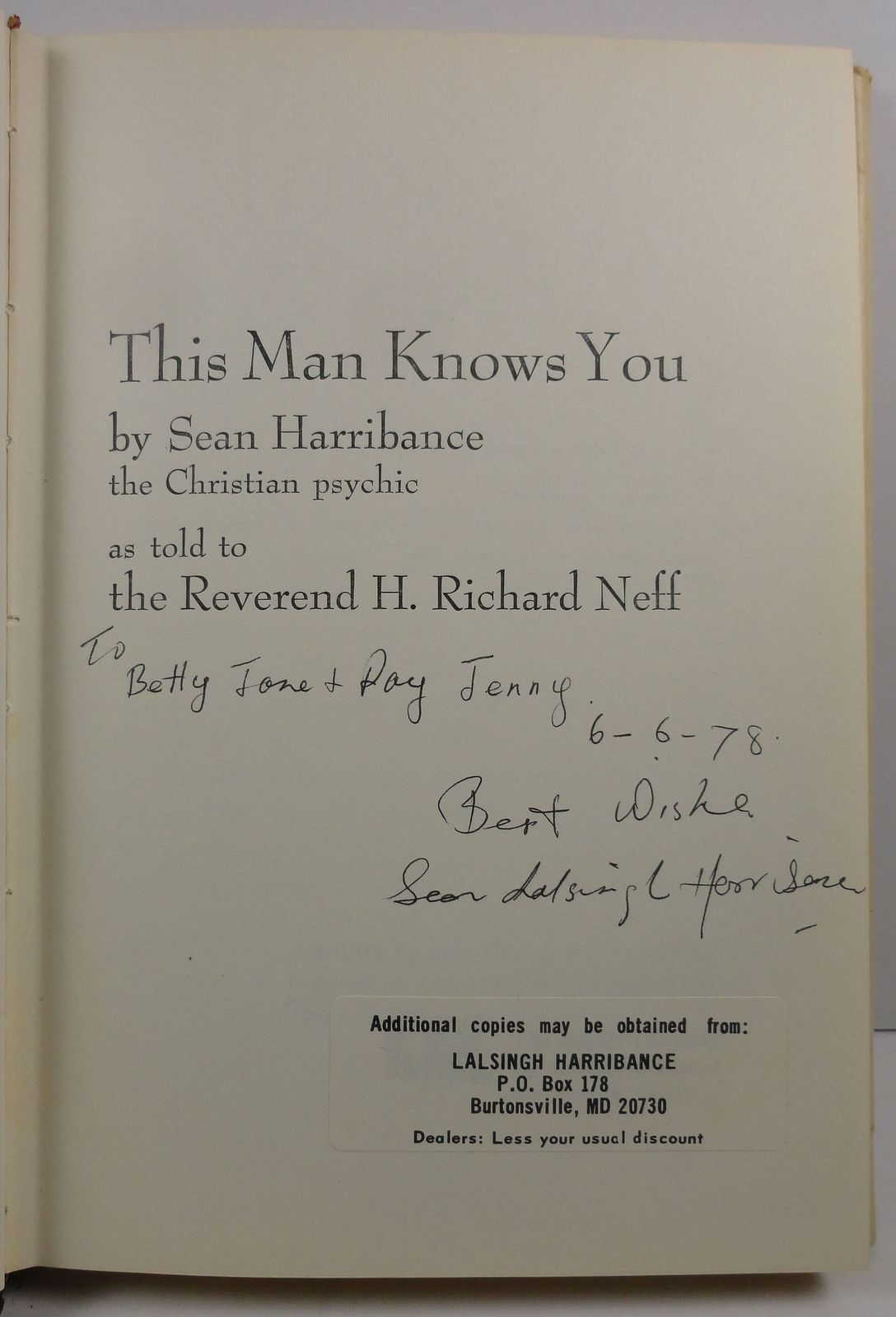 This Man Knows You by Sean Harribance 1976 Signed HC/DJ