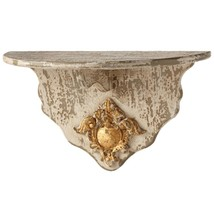 SET /2 SHABBY CHIC ORNATE IVORY WALL SHELF DISTRESSED WOOD SCONCE FRENCH... - $123.75