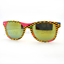 Totally 80's Pop Color Print Sunglasses Classic Square Horn Rim Frame - $6.25