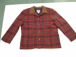 vintage pendletons wool  4 pocket red plaid tartan jacket knockabout size 12 USA - $19.75