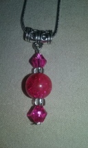 Handmade Pretty In Pink Crackle Glass Crystal Pendant On Silver Chain Ne... - $6.99