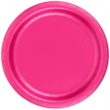 "72 Plates 6 7/8"" Paper Dessert Plates Wax Coated - Hot Pink - $12.82"