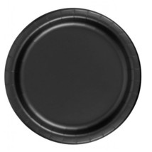 "72 Plates 6 7/8"" Paper Dessert Plates Wax Coated - Black - $12.82"