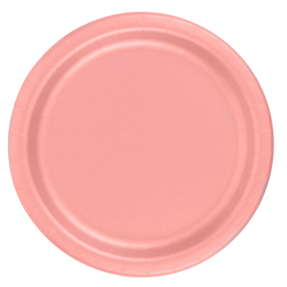 "72 Plates 6 7/8"" Paper Dessert Plates Wax Coated - Rose"
