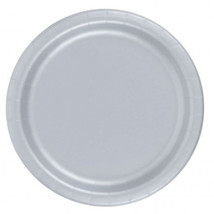 "72 Plates 6 7/8"" Paper Dessert Plates Wax Coated - Silver - $12.82"