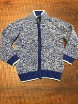 GYMBOREE Boys Sweater Cardigan Sz Small (5-6) Blue Winter Full Zip Front - $12.49