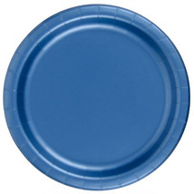 "72 Plates 6 7/8"" Paper Dessert Plates Wax Coated - Royal Blue - $12.82"