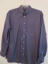 Hathaway Men's Size L Gray L/S Button Down Shirt Checkered Oxford (Excel... - $9.89