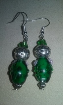 Handmade Green Lampwork Blown Glass Silver Tibetan Bead Dangle Earrings ... - $6.50