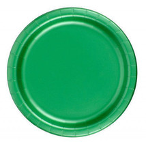 "72 Plates 6 7/8"" Paper Dessert Plates Wax Coated - Kelly Green - $12.82"
