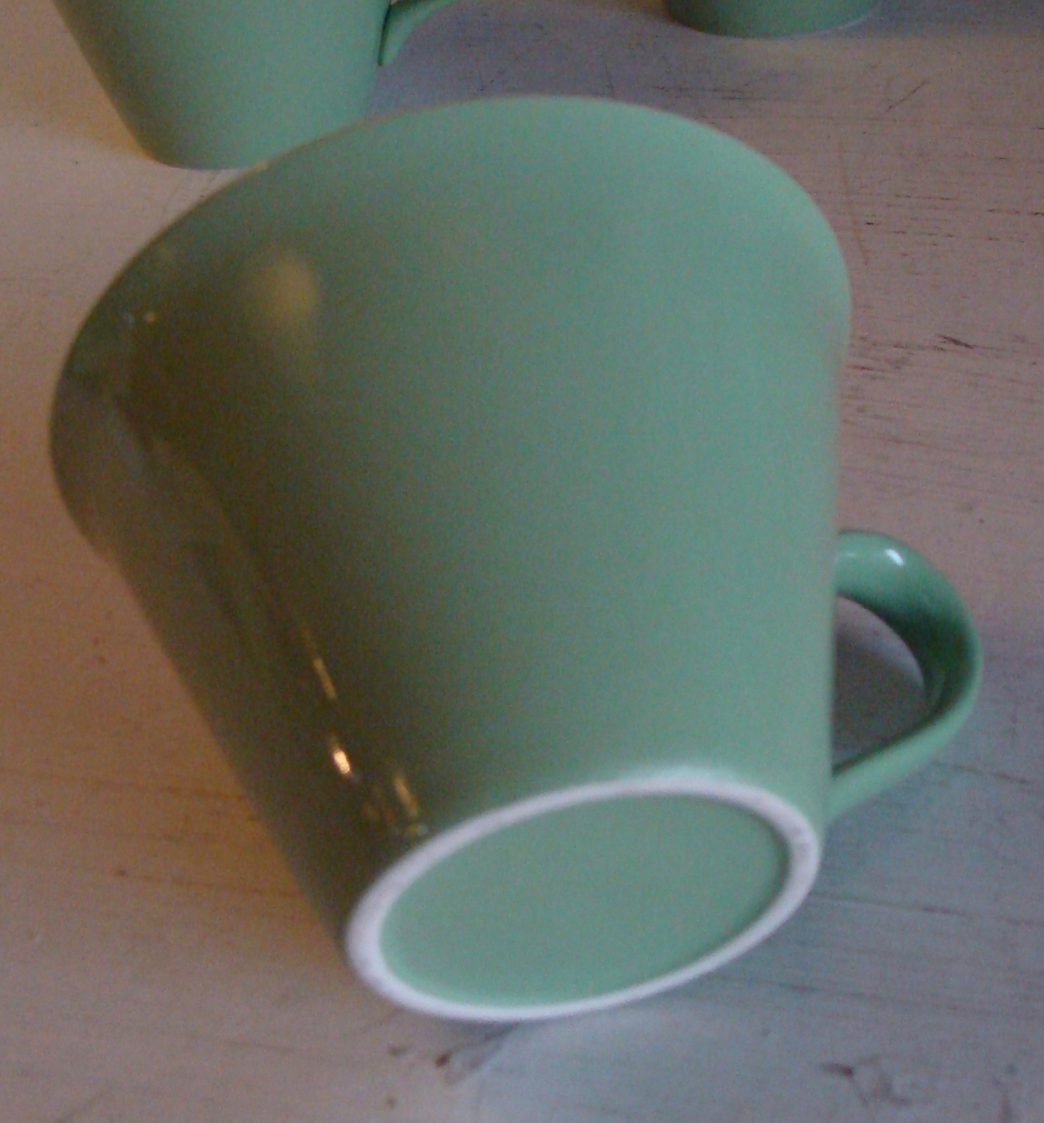 5 Salem Maple Leaf Green Flared Flat Cup Discountinued Mid Century Modern