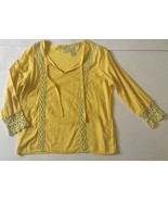 Yellow Lace Peasant Blouse S Textured Sheer Dainty Boho Tie V-neck Shirt - $9.89