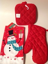 Kitchen Linen Set 4 Pc Oven Mitt Towel 2 Pot Holders Snowman New Christmas - $12.82
