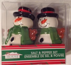 Snowman Salt & Pepper Shakers New Ceramic Christmas - €7,28 EUR