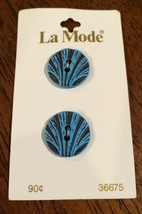 Fan Seashell Style Aqua 2 Buttons by La Mode Ne... - $9.77