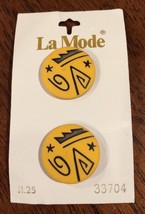 Vintage Atomic Geometric Yellow 2 Buttons by La... - $8.79
