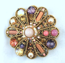 "Joan Rivers Large 3"" Faux Pearl Cabochons  Gold Tone Brooch - $66.30"
