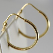 18K YELLOW GOLD EARRINGS LITTLE CIRCLE HOOP 19 MM 0.75 IN DIAMETER MADE IN ITALY image 2