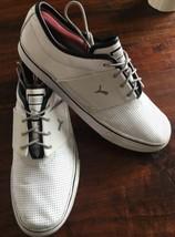 PUMA White Black Lace Up Band perferated Leather SZ. 10.5 - $22.72