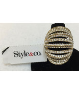 Ring Pave Rhinestones Stretch Rounded Dome Shape Knuckle Size 5 Style&Co - $12.86