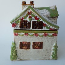 Snow Covered Roof Christmas House Figural Ceramic Cookie Candy Jar - $33.59