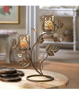 Wise Owl Duo on Vine & Leaf Votive Candle Holder Stand  - $27.45